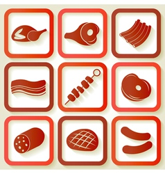 Set of 9 retro icons with meat pieces vector image