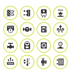 Set round icons of heating vector image