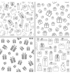Set seamless patterns with gift boxes vector