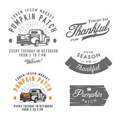 Set vintage thanksgiving day design elements vector