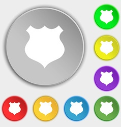 shield icon sign Symbols on eight flat buttons vector image