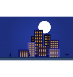 Silhouette of apartment building at night vector