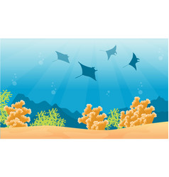 Silhouette stingray on sea with coral reef vector