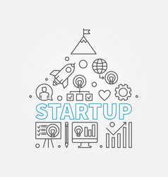 startup line start-up icons in house vector image