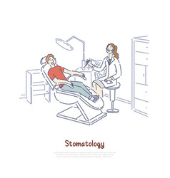 stomatology clinic office patient at dental vector image