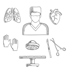 Surgeon profession objects and icons vector