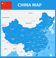 the detailed map of china with regions or states vector image