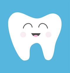 Tooth health icon cute funny cartoon smiling vector