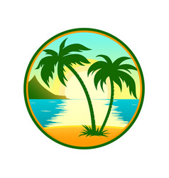 Tropical beach with palm tree round icon vector