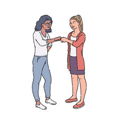 two people fist bump and smile happy female vector image