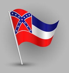 waving triangle american state flag mississippi vector image