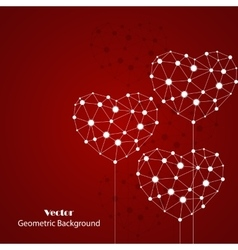 White hearts made of connected lines and dots vector image