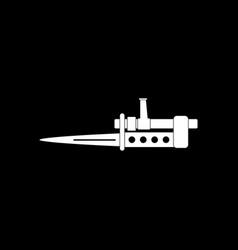 White icon on black background knife bayonet vector