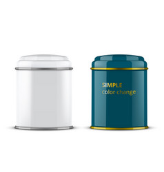 white metallic tin box for tea coffee or candy vector image