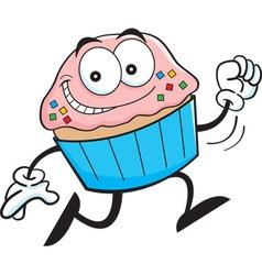 Cartoon cupcake running vector image