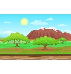 Cartoon nature spring summer landscape in sun day vector image vector image
