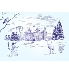 Christmas night Christmas card hand drawn vector image vector image