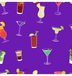 Cocktail purple seamless pattern vector image