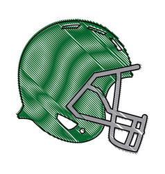 drawing green american footbal helmet equipment vector image