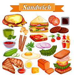 food and spice ingredient for sandwich vector image vector image