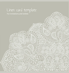 white linen brocade card template vector image vector image