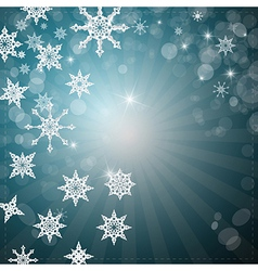 Abstract Winter Retro Background with Snowflakes vector image vector image
