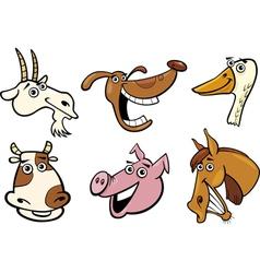 Cartoon farm animals heads set vector image