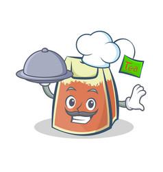 chef tea bag character cartoon art with vector image vector image