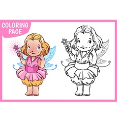 Coloring page Little girl dressed as a fairy with vector image