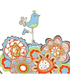 Flowers and bird decoration vector image vector image