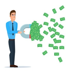 Male businessman getting money with a large magnet vector image vector image