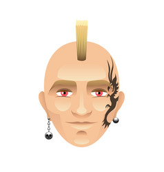 man with mohawk and tattoos isolated on white vector image