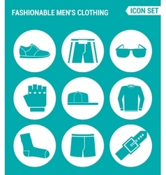 set of round icons white Fashionable men s vector image