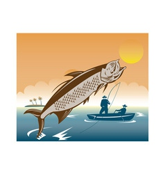 tarpon fish jumping reeled by fisherman vector image