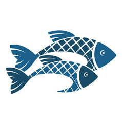 two fish silhouette vector image