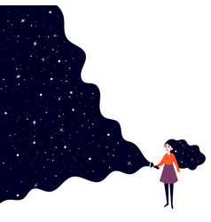 Young girl with flashlight to deep space vector