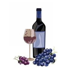 Bottle of Red white and a glass vector image vector image