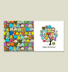 greeting card design funny animals tree vector image vector image