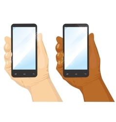hand holding black vertical smartphone vector image vector image