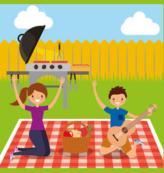 happy people picnic vector image
