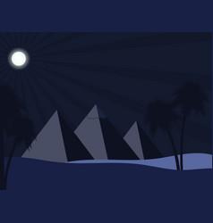 egyptian pyramids in the desert full moon over vector image