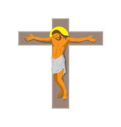 Jesus christ on cross retro vector