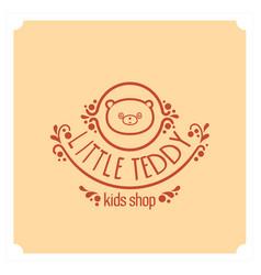 kids shop logo with teddy bear cute kindergarten vector image vector image