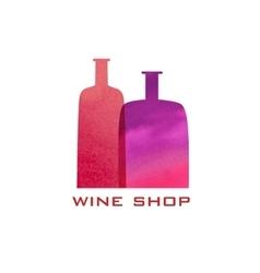 Two watercolor bottles silhouette Menu design vector image