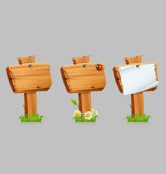 wooden sign set 3d icon set vector image