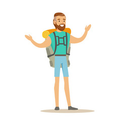 young man traveler standing with backpack summer vector image