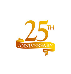 25 year ribbon anniversary vector image