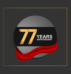 77 years anniversary logotype with golden color vector