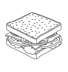 A sandwich with bread and sausageburgers and vector
