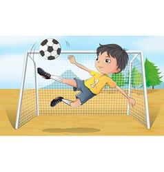 A soccer player kicking a soccer ball vector image